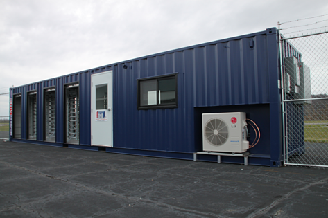 Modular Security systems inc., turnstiles in a shipping container, turnstiles canada, canada turnstiles