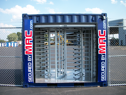 turnstiles, shipping container, turnstiles in a shipping container, MAC Portal, MSSI