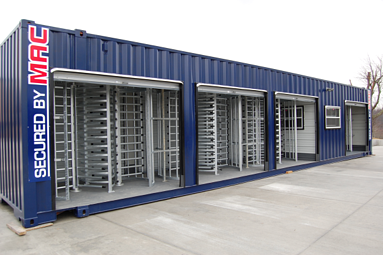 modular guardhouse with turnstiles, access control turnstiles, security turnstiles, portable guard shack with turnstiles