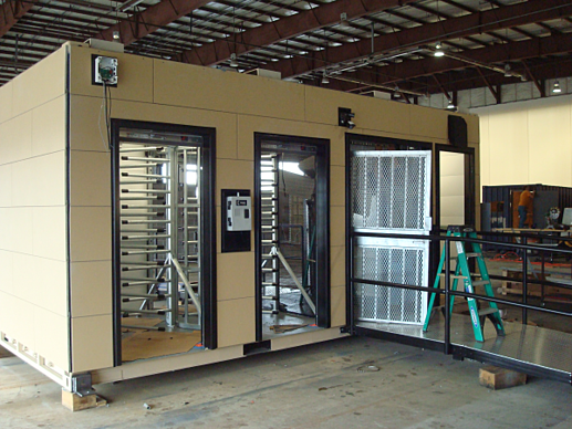 turnstile, turnstiles, turnstiles in a container, turnstiles with ada gate