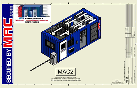 Customized MAC-2, Modular Access Control (MAC) Portal, customizable guardhouse with turnstiles