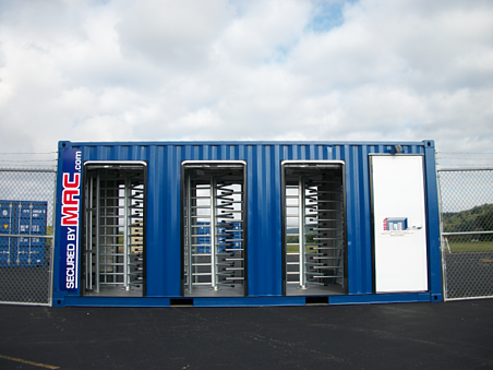 Modular Access Control (MAC) Portal, Modular Security Systems Inc, MSSI, turnstiles, Shipping Containers