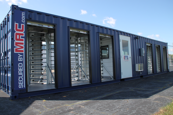 mssi, mac portal, turnstiles in a container, turnstiles, mac portal with turnstiles