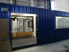 turnstiles in a guard shack, portable guardhouse with turnstiles, guard shack with turnstiles