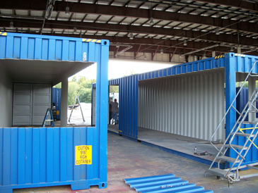 guardhouse with turnstiles, guard booth with turnstiles, guard shack with turnstiles
