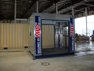 turnstiles in a guard house, guard booth with turnstiles, guard shack with turnstiles