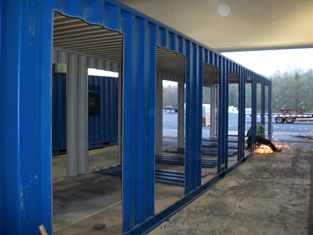 Patented MAC Portal, MSSI, guard office with turnsitles, turnstiles in shipping containers