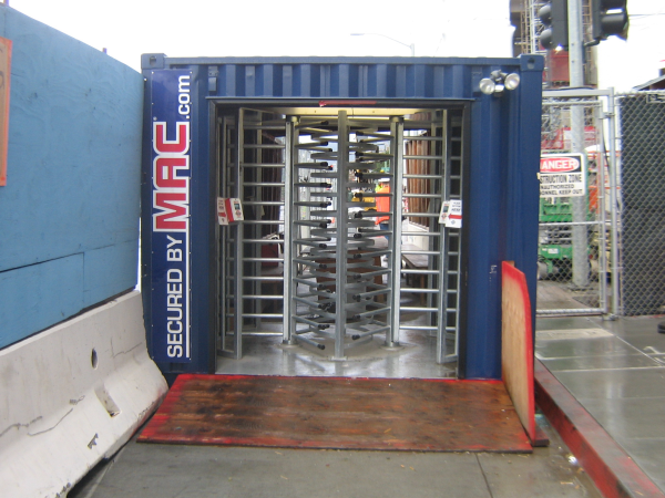 turnstile, turnstiles, Turnstiles in a container, turnstiles in a container, MSSI, Modular Security Systems Inc
