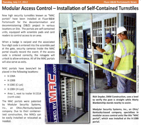 MSSI, Modular Security Systems Inc, MAC Portal, turnstiles in a container, turnstiles and access control, perimeter security