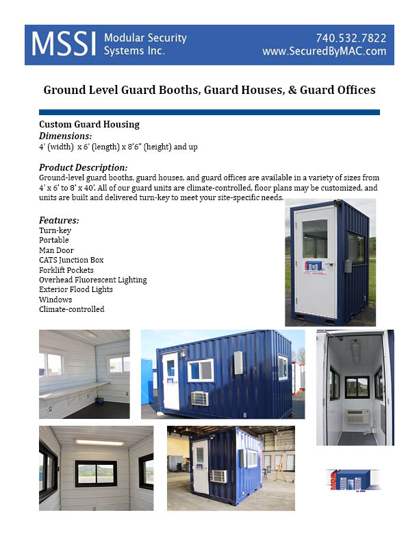 MSSI, portable guard booth, Modular Security Systems Inc, portable guard house, ground level guard booth, ground level guard house, ground level guard office
