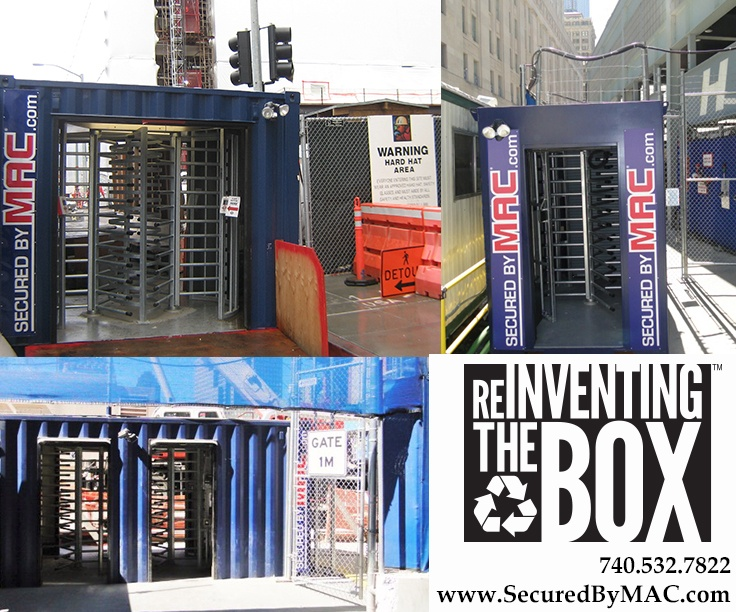 turnstiles in a container, turnstile in a shipping container, turnstiles in a shipping container, Modular Security Systems Inc, MSSI, turnstile security in a container, turnstile container