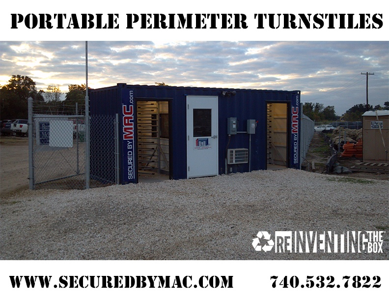turnstiles in a shipping container, perimeter turnstiles, perimeter turnstile, Modular Security Systems Inc, MSSI