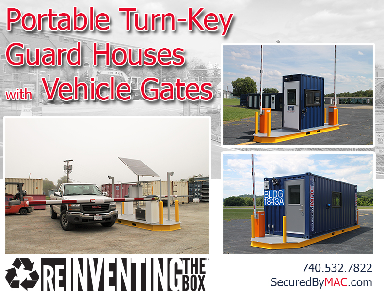MSSI, Modular Security Systems Inc, vehicle access control, vehicle access control portal, modular vehicle access control portal, portable vehicle access control, guard house with vehicle gate, guard office with vehicle gate