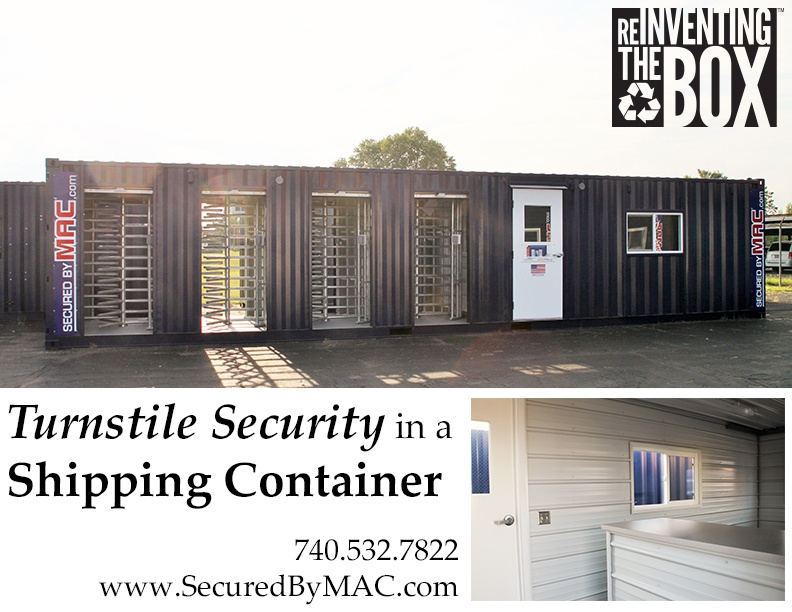 MSSI, turnstile security, Modular Security Systems Inc, turnstiles in a shipping container, turnstile in a shipping container, turnstile security in a container, turnstile security in containers