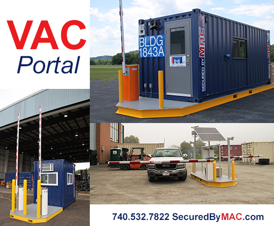 vehicle access control, modular vehicle access control, portable guard house with vehicle barrier arms, modular guard booth with vehicle barrier arms, vehicle access control portal, modular vehicle access control portal, portable vehicle access control, VAC Portal, vehicle gate with guard house